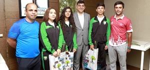 Belediye Başkanı Fadıloğlu milli sporcuları ağırladı
