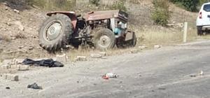 Freni boşalan traktör şarampole devrildi: 1 öldü, 1 yaralı