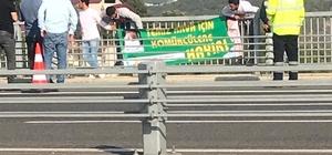 Osmangazi Köprüsü'nde OSB protestosu Köprü bariyerlerinden aşağı sarkan gruptan 2 kişi gözaltına alındı