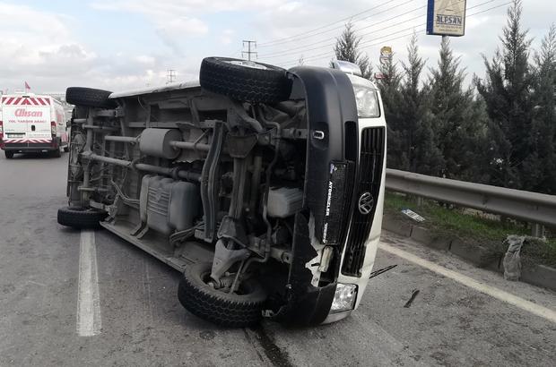 Kontrolden çıkan işçi servisi devrildi: 8 yaralı Aracı kullanan firma sahibinin alkollü ve ehliyetsiz olduğu belirlendi
