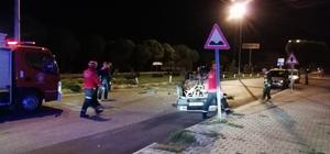 Burhaniye'de otomobil takla attı