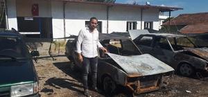 Bozdoğan'da araç kundaklama olayı İki araç tamamen yandı