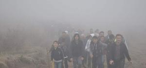 744 metre yükseklikteki Dinek Dağı'na yürüdüler