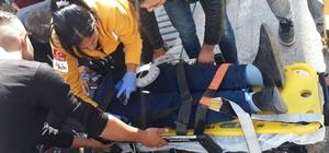 Kamyonetin çarptığı bisikletli yaralandı