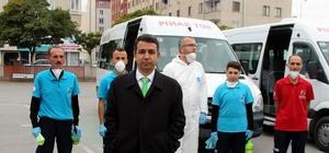 """Okul servisleri mikroplara karşı dezenfekte ediliyor Kayseri Servisçiler ve Minibüsçüler Odası Başkanı Yavuz Ay: """"Çocuklarımızın hijyenik ortamlarda yolculuk yapması önemli unsurlardan bir tanesi"""""""
