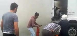 TEM'de alev alev yanan kamyon için vatandaşlar seferber oldu