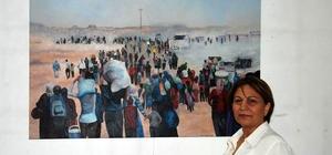 """Soylu: """"Bu resmi çizerken ağladım"""" Adanalı Ressam Meral Soylu, Suriyeli mültecilerin savaştan kaçışlarını konu alan resmi çizerken gözyaşlarına hakim olamadığını anlattı"""