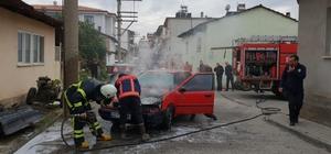 LGP'li otomobil alev alev yandı