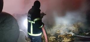 Yüzlerce saman balyası alevlere teslim oldu Çiftlikteki saman balyalarında çıkan yangın itfaiye tarafından söndürüldü