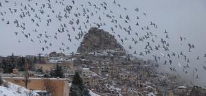 Kapadokya'da kar kartpostallık görüntüler ortaya çıkardı Kapadokya'dan kartpostallık görüntüler