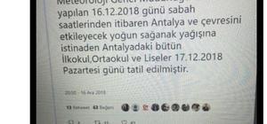 """Antalya Valiliği: """"Yarın okulların tatil olduğu asılsızdır, itibar edilmemelidir"""" Antalya'da yarın okullar tatil değil"""