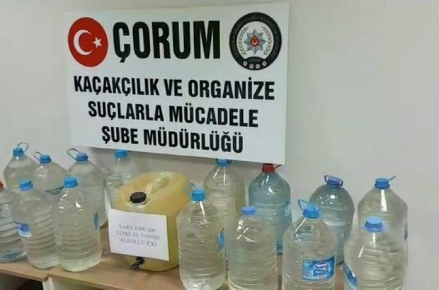Çorum polisinden kaçak içki operasyonu Operasyonda 160 litre el yapımı kaçak rakı ve 40 litre el yapımı kaçak votka ele geçirildi