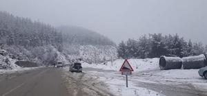 Kozan'da kar yağışı nedeniyle araçlara zincir zorunluluğu