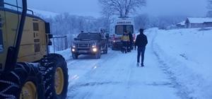 Kar nedeniyle ulaşılamayan hastaya yardım eli 70 yaşındaki hipertansiyon hastası için ekipler seferber oldu Yoğun kar yağışı sebebiyle hastaya ulaşamayan 112'nin yardımına İl Özel İdaresi yetişti