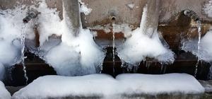 Doğu buz kesti Sıcaklığın gece eksi 24 dereceye düştüğü Ağrı'da çeşmeler buz tuttu