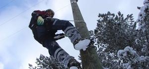 UEDAŞ ekipleri zorlu şartlarda mücadele ediyor UEDAŞ ekipleri, 1 metreyi bulan kar altında elektrik arızalarına anında müdahale ediyor