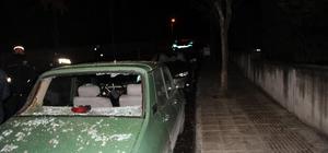 Fırtınanın devirdiği ağaç otomobilin üzerine düştü