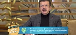 """Zeybekci'ye binlerce kişi ulaştı AK Parti adayı Zeybekci, WhatsApp hattı ve sosyal medyadan İzmir'i dinliyor, çözüm üretiyor 24 saat ulaşım ve ücretlerde indirim müjdesi AK Parti Büyükşehir Belediye Bakan Adayı Nihat Zeybekci: """"İzmir'e 9 aydan beri gelmeyenlere 'acaba yanlış yere mi geldik. İzmir ne kadar güzel olmuş' dedirteceğiz"""""""
