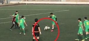 Hakem ve futbolcular topu sahaya giren köpekten zorlukla alabildi Küçük köpek aldığı topu kaptırmamak için dakikalarca futbolcuları arkasından koşturdu