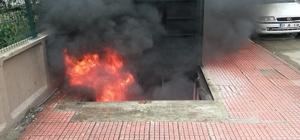 Yer altı çöp konteynerine atılan izmarit yangın çıkardı