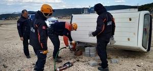AFAD'dan trafik kazası tatbikatı Trafik kazalarına müdahale amaçlı tatbikat