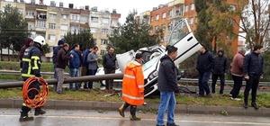 Takla atan otomobilin kadın sürücüsü hayatını kaybetti, oğlu yaralandı