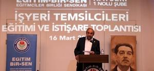 """Başkan Kalkan: """"4 yıllık refakat döneminde Kayseri'de üyelerimize hep birlikte hizmet edeceğiz"""" Eğitim Bir Sen 1 Nolu Şube İşyeri Temsilcileri Eğitimi ve İstişare Toplantısı yapıldı"""