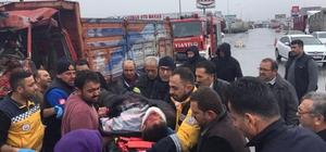 Kazada sıkışan kamyon şoförü ağır yaralandı