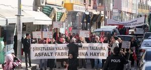 Asfalt tesisinin kurulmasını istemeyen köylüler yürüyüş düzenledi