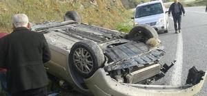 Takla atan aracın şoförü ölümden döndü