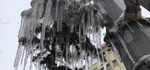 Kars'ta kar yağışı etkili oluyor Hava sıcaklığı eksi 8'e düştü, ağalarda buz sarkıtları oluştu