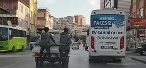 Patenli gençler, trafikte ölüme davetiye çıkarttı Olayı telefonla görüntüleyen vatandaş, duruma tepki gösterdi