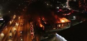 Gebze'de fabrikadaki yangın havadan görüntülendi Yangın nedeniyle patlamalar meydana geldi