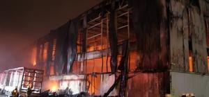 Sünger fabrikasında çıkan yangın kontrol altına alındı Çıkan yangında fabrika kullanılamaz hale geldi Alevler kilometrelerce uzaklıktan görüldü