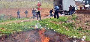 Kaçak sigara ve tütünler yakılarak imha edildi