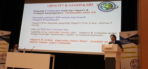 """Prof. Dr. Ateş: """"Her yıl 500 bin-1 milyon kişi Hepatit B'ye bağlı hastalıklar nedeniyle kaybediliyor"""" """"Türkiye'de Hepatit B ile karşılaşma sıklığı ise yüzde 4. Nüfusumuzu kabaca 80 milyon kabul edersek 3,2 milyon vatandaşımız Hepatit B virüsü ile karşılaşmış durumda"""""""