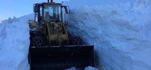 Sis Dağı'na giden yayla yolunu kardan temizlemek için gece gündüz çalışıyorlar