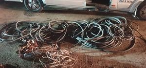 Okul servisiyle yüksek gerilim kablolarını çaldılar