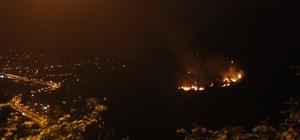 Giresun'da ki orman yangını Alevlerin meskun mahal alanlarına sıçramaması için tedbirler alındı Yangının sönmemesi halinde sabah havadan ile müdahale edilecek