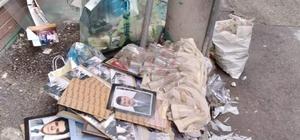 Eski belediye başkanlarının fotoğraflarını çöpe attılar