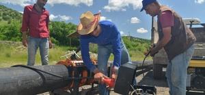 Büyükşehir Belediyesi'nden çiftçilere su borusu desteği