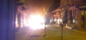 Bursa'da park halindeki araç alev alev yandı