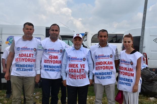"""Hak-İş'in yürüyüşüne İzmir'den de katılım oldu Hizmet-İş Sendikası İzmir Şube Başkanı Gültekin Şimşek: """"İnsanların işine son vermek hangi kanuna, hangi vicdana sığıyor"""""""