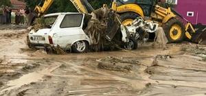 Sel sularında sürüklenen otomobil dereye düştü Otomobili iş makineleri çıkardı Denizli'de etkili olan sağanak yağış tarım arazilerine zarar verdi