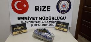 Rize'deki asayiş uygulamasında 1 kilo 300 gram esrar maddesi ele geçirildi