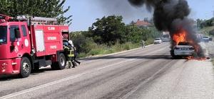 Komutanın yeni aldığı otomobili alev alev yandı