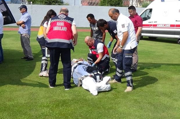 Hava ambulansı boynu kırılan kadın için havalandı