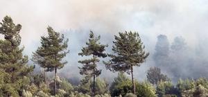 Muğla'da alevlerin tehdit ettiği iki köy boşaltıldı Dalaman'da rüzgarın da etkisiyle büyüyen yangın 250 hektar alanda etkili oluyor