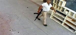 Elinde tüfek, belinde tabanca ile gitmiş Konya'nın Cihanbeyli ilçesinde bir kişiyi yaralayan, eski kayınvalidesini öldürdükten sonra intihar eden İrfan Taşkafa'nın elinde tüfek, belinde tabanca olduğu halde kamera görüntüleri ortaya çıktı