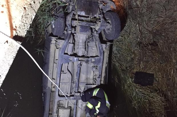 Manisa'da otomobil su kanalına uçtu